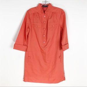 Magaschoni Orange Coral Shift Dress Linen Cotton